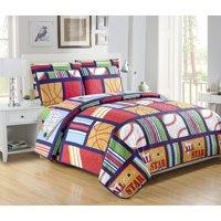 Fancy Linen-5pc-Boys-Twin-Size-Sports-Green-Navy-Blue-Bedspread-Quilt-Set-New