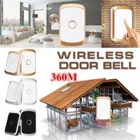 Wireless Doorbell Door Chime LED Waterproof 4 Volume Door Bell 300M Range 100-240V