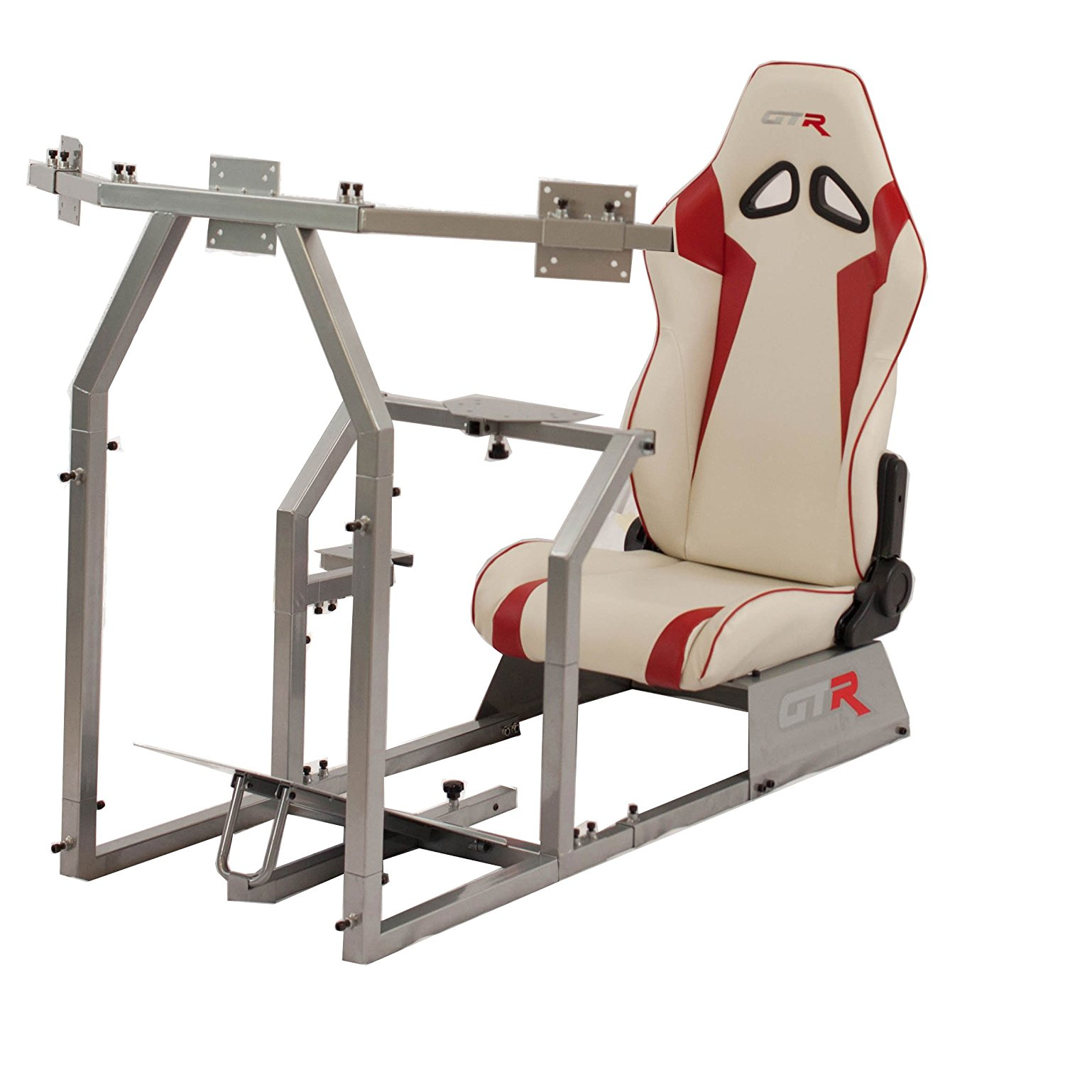 GTR Racing Simulator GTAF-S-S105LWHTRD - GTA-F Model (Silver) Triple or Single Monitor Stand with White/Red Adjustable Leatherette Seat, Racing Simulator Cockpit gaming chair Single Monitor Stand