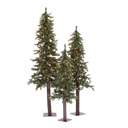 Vickerman Artificial Christmas Tree 4', 5', 6' Natural Triple Alpine Set of 3, 500 Clear Lights ()