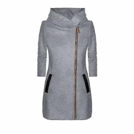 Women's Ladies Winter High Collar Hooded Colorblock Zipper Long Sleeve Coat Jacket Gray