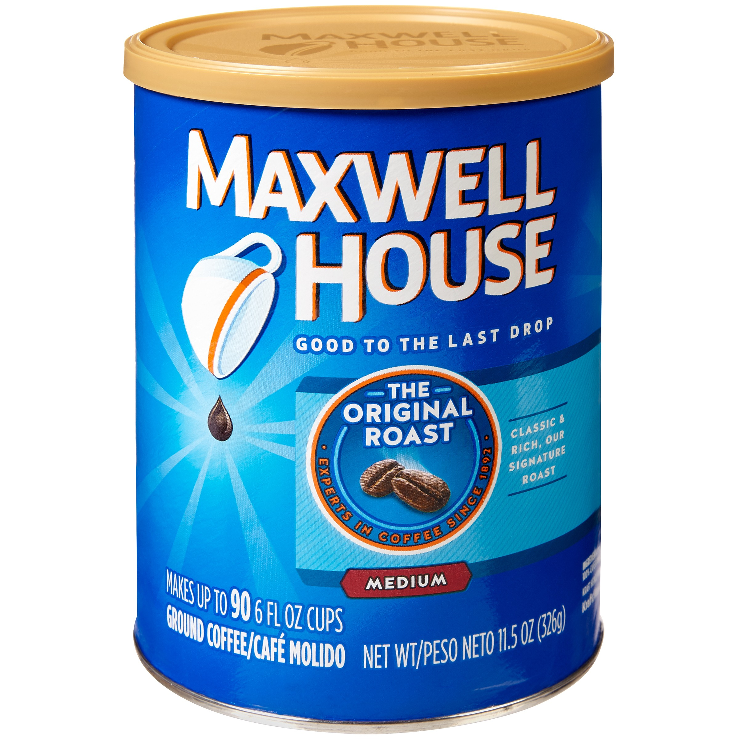 Maxwell House Original Medium Roast Ground Coffee, 11.5 OZ (326g) Canister