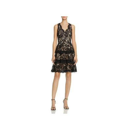 - Eliza J Womens Lace Overlay Fringe Hem Cocktail Dress