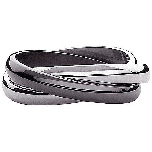 Black and White 3-Band Rolling Ring in Stainless Steel