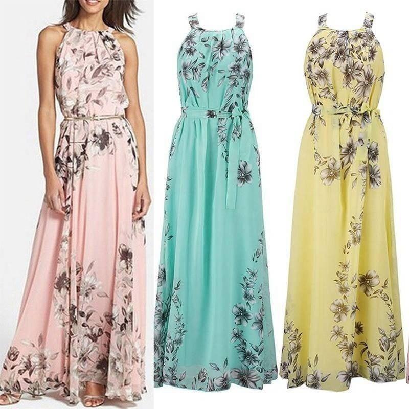 Vista Summer Women S Fashion Boho Long Maxi Dress Sleeveless Lady Beach Dresses Sundress Party Dress Walmart Com Walmart Com