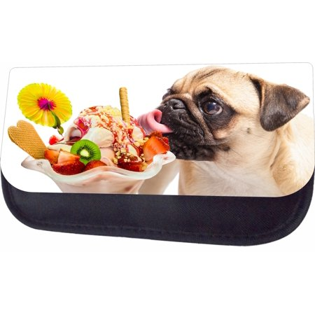 Pug Licking An Ice Cream Sundae Black Multi-Purpose Cosmetic Case - Bag - with 2 Zippered Pockets and Nylon Lining