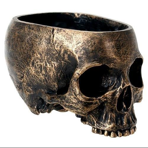 Bronze Resin Holiday Skull Candy Bowl Dish Statue Sculpture Skeleton