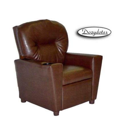 Dozydotes Child Recliner - Dozydotes 11534 Pecan Brown Leather-Like Kid Recliner with Cup Holder