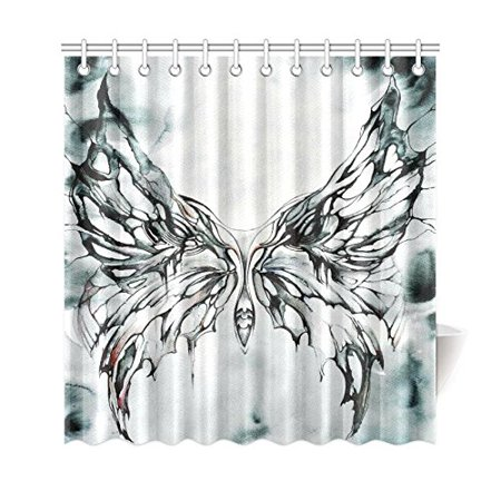 GCKG Watercolor Butterfly Shower Curtain, Black and White Polyester Fabric Shower Curtain Bathroom Sets with Hooks 66x72 Inches - image 3 of 3