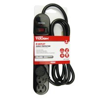 Hyper Tough 6 Outlet 6ft Surge With Glossy Black Extension Cord