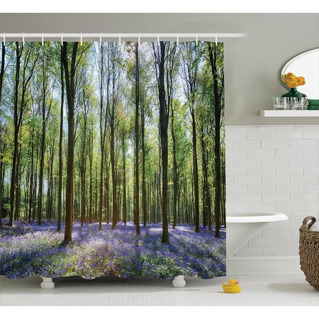 Tree Shower Curtain Woodland Decor By Bluebells In Wepham Woods Landscape Flowers Rural Countryside Fabric Bathroom Accessories Set