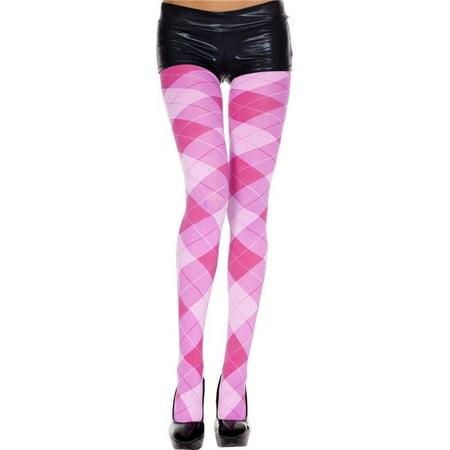 Music Legs 7013-PINK-FUCHSIA Big Argyle Spandex Pantyhose, Pink & Fuchsia