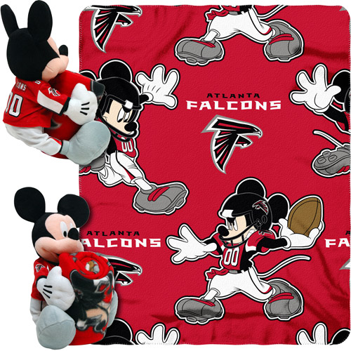 "Disney NFL Hugger Pillow and 40"" x 50"" Throw Set, Atlanta Falcons"