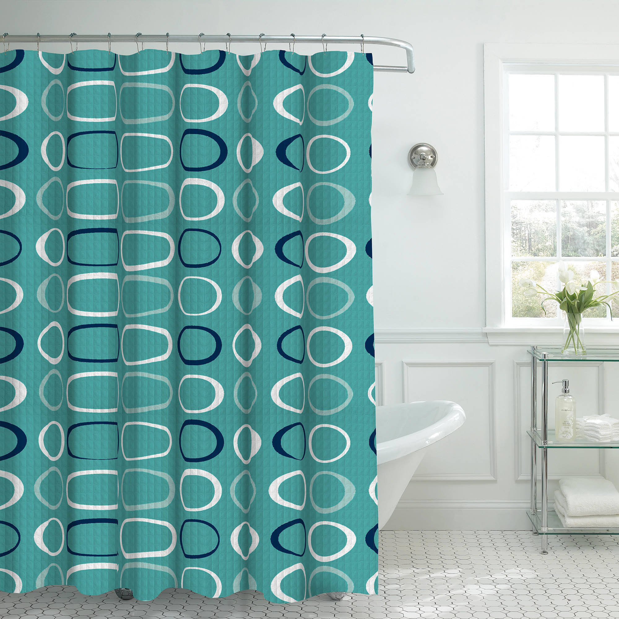 Bounce Comfort Oxford Weave Textured 13-Piece Shower Curtain Set with Metal Roller Hooks, Terrell Blue