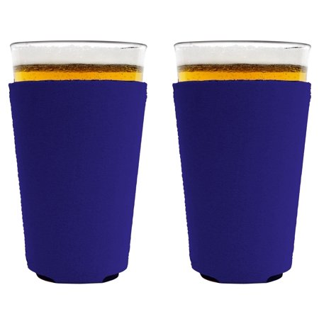 Blank Neoprene Collapsible Pint Glass Coolie (2, Purple)