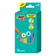 BIC Kids Crayons for Long-Lasting Coloring, Assorted Colors, 24 Count Wrap-Free Crayons