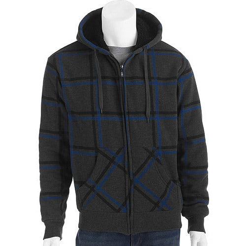 Big Men's Printed Plaid Fleece Jacket with Sherpa Lining