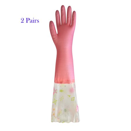 2 Pairs of Household Cleaning Reusable Gloves, Super-soft Latex with Plush Lining and Extra Long Cuff ()
