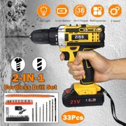 21V 30Pcs Electric Cordless Impact Drill 2 in 1 Electric LED Lighting Screwdriver Tool