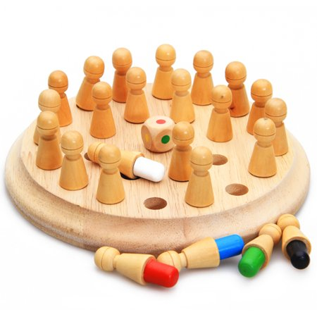 Wooden Memory Chess, Kids Game Memory Developing Montessori Materials Educational Preschool Training Brain IQ Toy