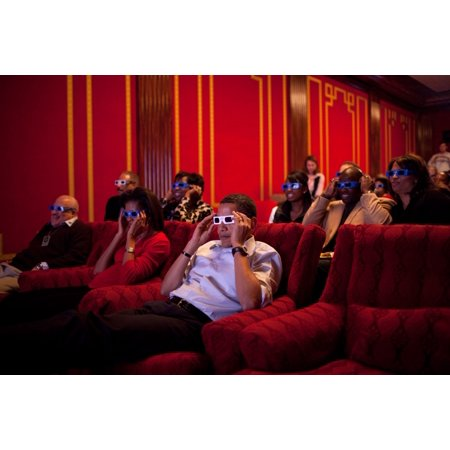 President And Michelle Obama Wear 3-D Glasses While Watching A Tv Commercial During Super Bowl 43 In The Family Theater Of The White House On Feb 1 2009 Guests Included Family Friends Cabinet (Friends And Family White House Black Market)