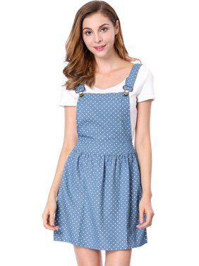 48cd49dfefb39 Product Image Women's Dots Pattern Adjustable Shoulder Straps Denim Overall  Dress Blue (Size S ...
