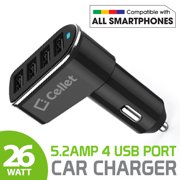 Cellet Universal 26-Watt 5.2-Amp 4-Port Car Charger for Android and Apple Devices
