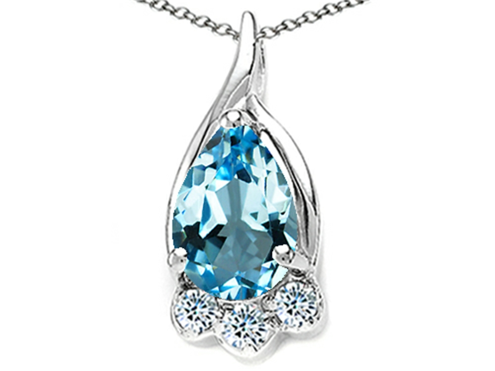 Tommaso Design Pear Shape 7x5mm Genuine Blue Topaz Pendant Necklace by