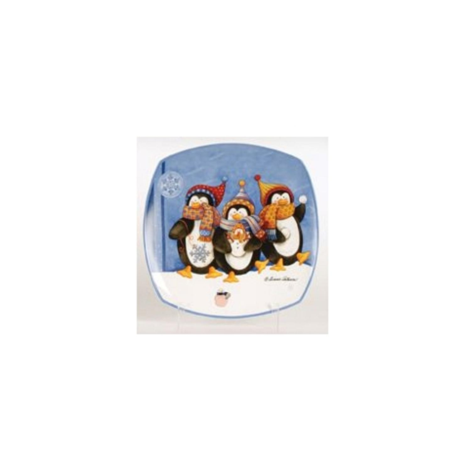 """12"""" Snow Drift Penguin Family and Baby Square Porcelain Christmas Dining Plate"""