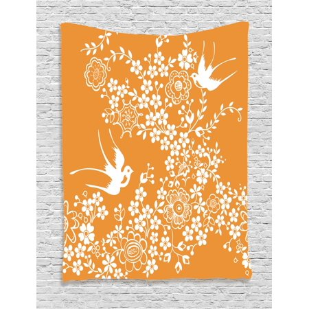 Japanese Tapestry, Oriental Floral Japanese Style Flying Birds Asia Pastel Colored Spring Pattern, Wall Hanging for Bedroom Living Room Dorm Decor, Marigold White, by - Pastel Floral Tapestry