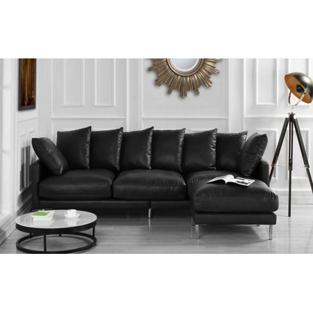 Upholstered Leather Match Sectional Sofa - Chaise Ottoman Couch for Living  Room, Modern L Shaped Piece (Black)