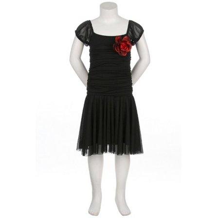 Cinderella Girls Black Stretch Corsage Chiffon Occasion Dress 10