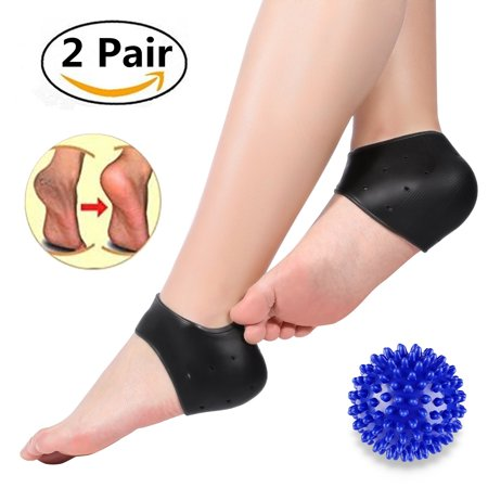 Yosoo 2 Pair Gel Heel Protectors Cushion Cups Pads Thicken-Silicone Heel Protectors Socks for Plantar Fasciitis, Crack Heel, Sore Feet(Foot Massage Ball (Best Shoes For Sore Balls Of Feet)