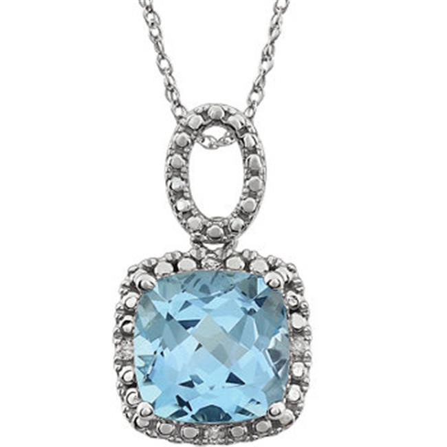 Stuller 651606-101-P 14K White Sky Blue Topaz & 0.03 CTW Diamond 18 in. Necklace by Stuller
