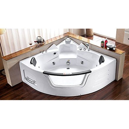 2 person bathtub white corner fitting jetted computerized whirlpool