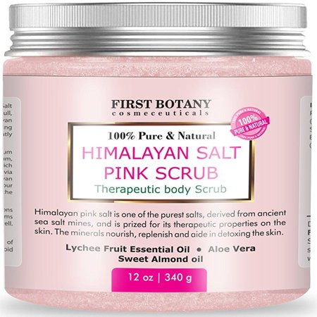 - 100% Natural Himalayan Salt Scrub 12 oz with Lychee Oil and Sweet Almond Oil- Best Body scrub, Deep Skin Exfoliator, Anti Cellulite, Body Wash, Moisturizer & Detox