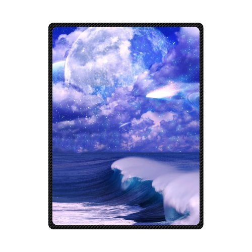 CADecor Blue Starry Sky And Sea Waves Fleece Blanket Throws 58x80 inches