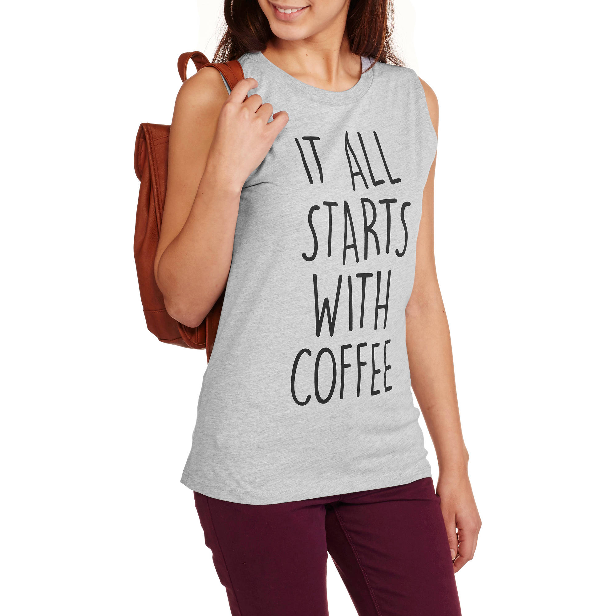 """Juniors' """"It All Starts with Coffee"""" Graphic Muscle Tank by Isaac Morris"""