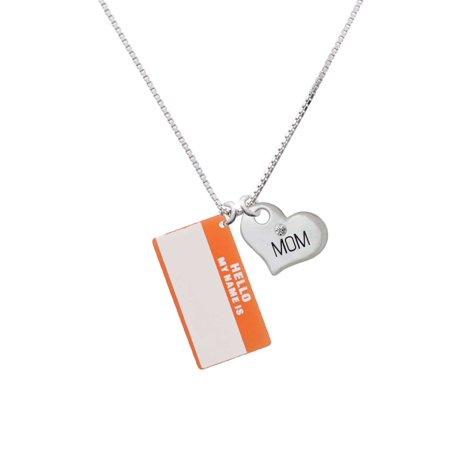 "Acrylic Orange ""Hello"" Name Tag Mom Heart Necklace"
