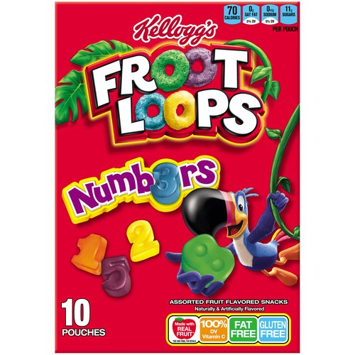 Kellogg's Froot Loops Numbers Fruit Flavored Snacks, 10 count, 8 oz