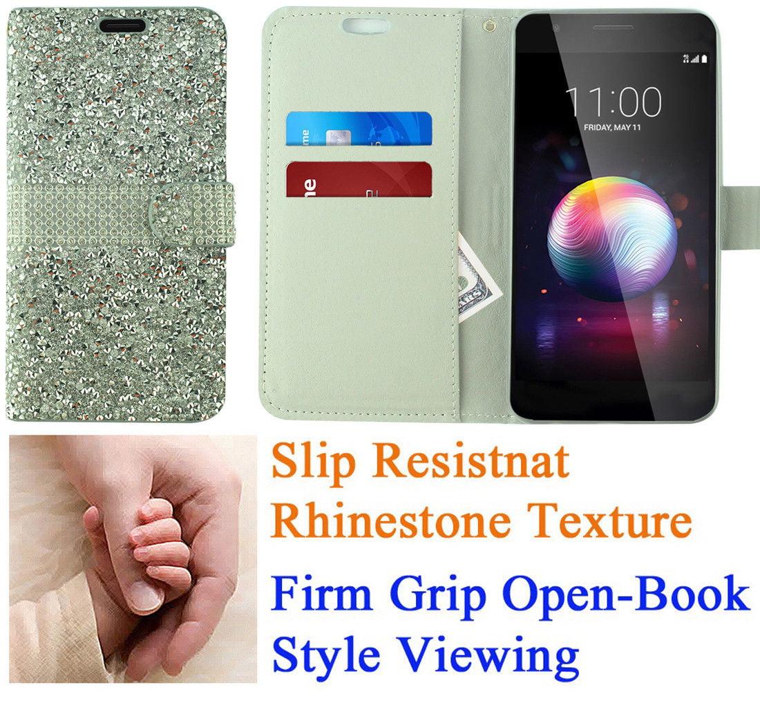 "for 5.3"" LG K10 2018 K10+ PLUS K10a K30 Premier Pro Case Phone Case Hybrid Diamond Wallet Grip Texture Pocket Pouch Purse Screen Flip Cover Blush Pink"
