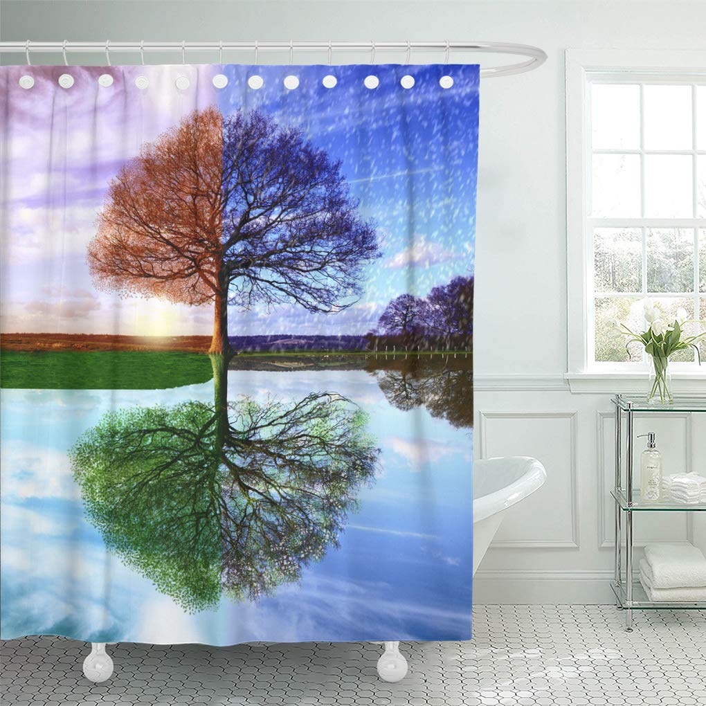 Life Tree Shower Curtain Colorful Four Season Tree Frbric Shower Curtain Sets