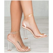 Cape Robbin Maria-2 Lucite Clear Strappy Block High Heel Open Peep Toe Sandals