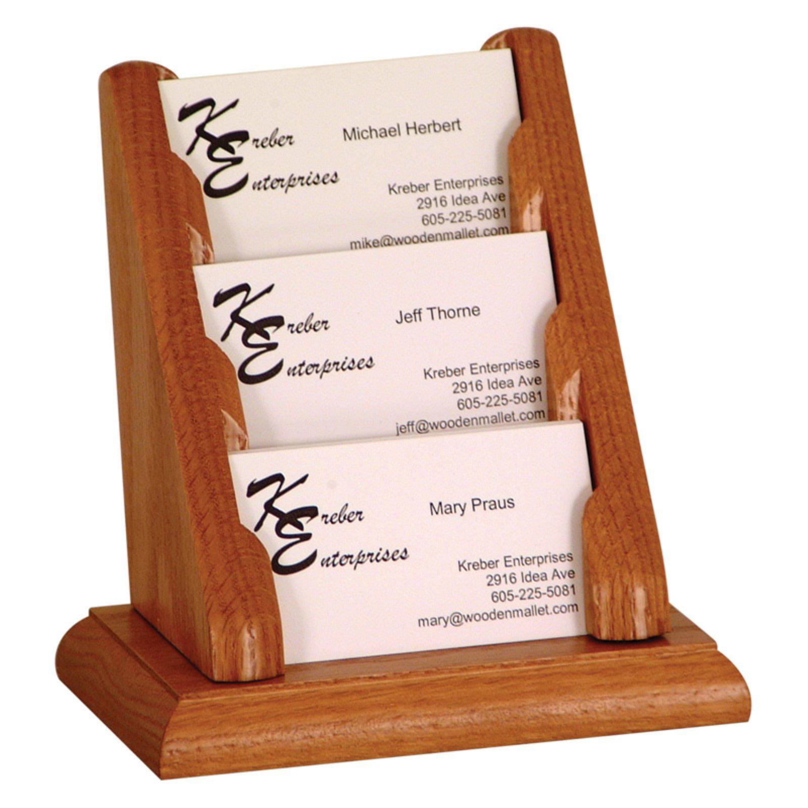 Wooden Mallet 3-Pocket Counter Top Business Card Holder
