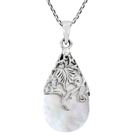 Vintage Floral Vine Adorned Teardrop Mother of Pearl .925 Sterling Silver Pendant Necklace Vintage Carved Mother Of Pearl