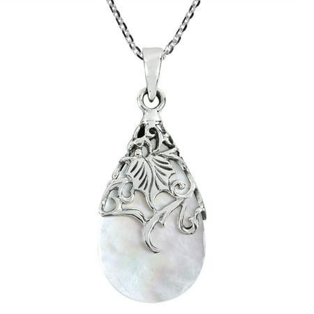 Vintage Floral Vine Adorned Teardrop Mother of Pearl .925 Sterling Silver Pendant Necklace ()