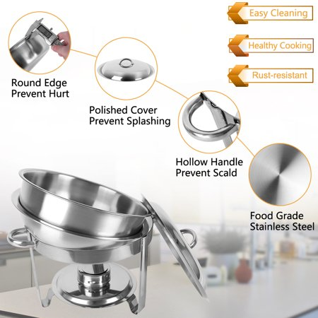 Zimtown Round Chafing Dish 5 Quart Stainless Steel Tray Buffet Catering, Dinner Serving Buffer Warmer Set, Pack of 1/2/4 - image 2 de 6