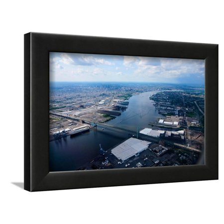 Aerial view of Walt Whitman Bridge crossing Deleware River in Philadelphia, PA Framed Print Wall (Crossings In Pa)