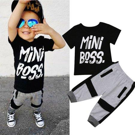 Fashion Toddler Kids Boys Summer T-shirt Tops Long Pants Outfits Set Clothes
