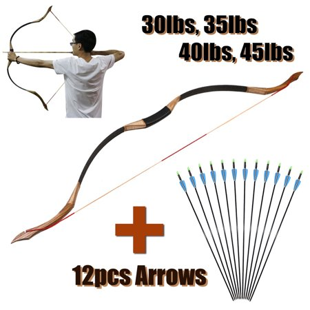 30-45lb Traditional Archery Hunting Handmade Recurve Bow Mongolian Horse Longbow thumbnail